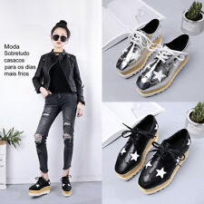Flat Platform Women's Ladies Wedge Lace Up Creepers Punk Goth Shiny Star Shoes