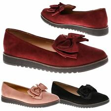 Marley Womens Flats Low Heels Slip On Loafers Ladies Bow Detail Pumps Shoes Size