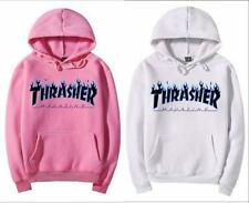 Thrasher blue flame Logo men's hooded fleece women's and wool hoodies Clothing