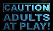 m537-b Caution Adults at Play Neon Light Sign