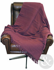 New 100% Cotton Throws  - Aubergine Purple Bedspread Throw Over