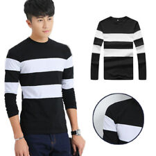 1Pcs Long Sleeve Casual T Shirts O Neck T Stripe Men's Shirts Mens Slim T-Shirt