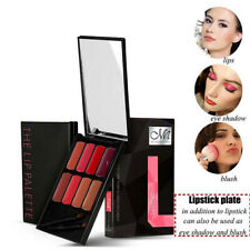 Beauty Lip Palette Kit Lipstick Lip Gloss Cream with Makeup Brushes Mirror