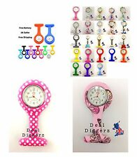 NURSES FOB WATCH SILICONE BROOCH PIN QUARTZ FREE BATTERY INCLUDED B3 UK