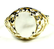 • R004-14, Mother of Pearl, 14k Yellow Gold Ladies Ring -Handmade