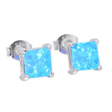Blue White Fire Opal 925 Sterling Silver Women Jewelry Stud Earrings SE018-19