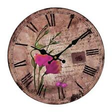 Artistic Flowers Creative Simple Style Round Antique Wood Home Wall Clock