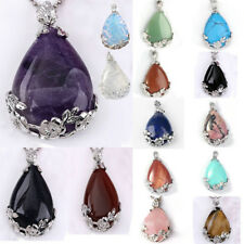 1pc Quartz Amethyst Agate Gemstone Inlaid Flower Teardrop Pendant Reiki Healing