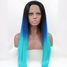 Long Straight Ombre 3 Tone Wig Black Blue Synthetic Hair Lace Front Women Wigs