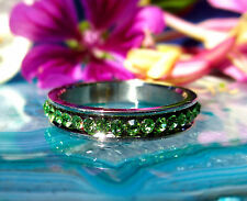 Stainless steel Ring Crystal green light Various Sizes