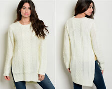 Women's Warm Comfy Chunky Cable Knit Tunic Sweater Long Sleeve Side Slit Loose