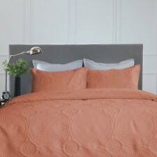 Twin Full Queen Cal King Bed Terracotta Orange 3 pc Quilt Set Coverlet Bedspread