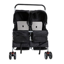 4-Wheel Pet Stroller Pet Cart Cat Dog Walk Travel Folding Carrier For 2 Pets