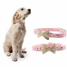 Dog collar Pet Cat Puppy Crystal Rhinestone Bowknot Adjustable PU leather Collar