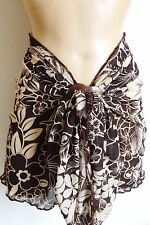 BROWN BEIGE FLORAL SHEER SHORT BEACH SARONG PAREO WRAP FREE COCONUT SHELL BUCKLE