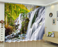 3D Window Curtains Mural Photo Printing Blockout Drapes Fabric Waterfall & Trees