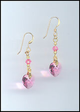 Beautiful Gold Earrings with Swarovski ROSE PINK Crystal Hearts GIFT BOXED