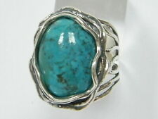 925 Sterling Silver SHABLOOL Ring Turquoise Turquoise Cocktail Jewelry