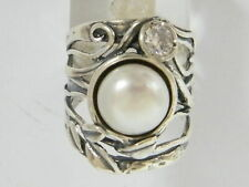 NEW Fine Sterling Silver 925 Ring Cocktail White fresh water pearl