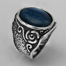 NEW SHABLOOL 925 Sterling Silver Blue natural Kyanite Cocktail Ring