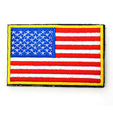 AMERICAN FLAG EMBROIDERED PATCH SEW-ON YELLOW BORDER USA United States