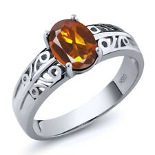 1.10 Ct Oval Orange Red Madeira Citrine 925 Sterling Silver Ring