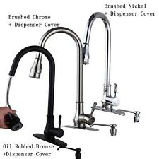"18"" Pull-Out Swivel Spray Spout W/Soap Dispenser Cover Kitchen Sink Faucet SV"