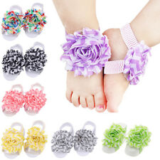 Newborn Baby Infant Girls Cute Crib Barefoot Band Sandals Feet Toe Flower Shoes