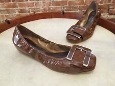 B. Makowsky Gene Brown Patent Leather Buckle Ballet Flats NEW
