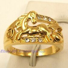 9,10# 11mm4g RUNNING HORSE CZ STONE 18K YELLOW GOLD PLATED RING SOLID FILL GP