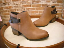 Sole Society Cognac Brown Leather Angie Back Strap Detail Ankle Boot NEW