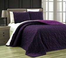 Twin Queen Cal King Bed Purple Beach Coastal Seashells 3 pc Quilt Set Coverlet