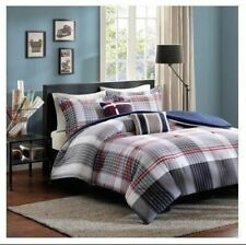 Twin XL Full Queen Bed Taupe Blue Red Plaid Striped 5 pc Comforter Set Bedding