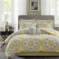 Twin Full Queen Cal King Bed Yellow Gray Grey Medallion Damask 9pc Comforter Set