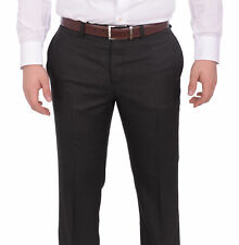 Calvin Klein Slim Fit Charcoal Gray Textured Flat Front Washable Dress Pants