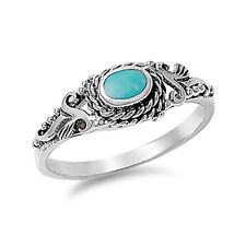 Women 8mm 925 Sterling Silver Simulat Turquoise Vintage Antique Ring Band