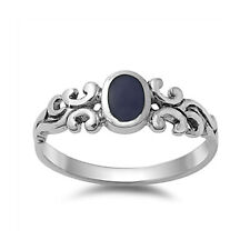 Women 7mm 925 Sterling Silver Simulated Black Onyx Vintage Antique Ring Band
