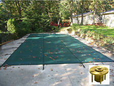 Rectangle GREEN MESH Safety Pool Cover w/ Wood Deck Anchors - 12 Year Warranty