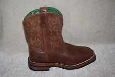 BOYS YOUTH JOHN DEERE JD3324 BROWN DISTRESSED WESTERN BOOTS-SEE SIZES (407)