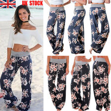 Women Ladies Floral Stretch Wide Leg Casual Loose Long Yoga Dance Pants Trousers