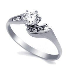 Women 14K White Gold 2 Carat CZ Bypass Solitaire Wedding Engagement Ring Band