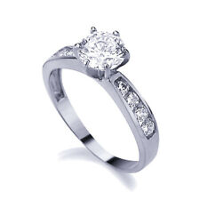 Women 14K White Gold 1 Carat CZ 6 Prong Solitaire Channel Set Wedding  Ring Band