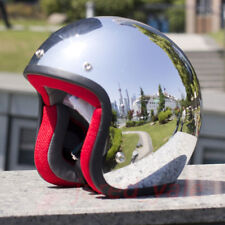Open Face Chrome Motorcycle Retro Helmet Scooter Jet Motorcross Vintage Helmets