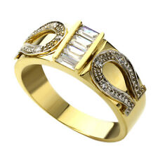 Men 14K White and Yellow Gold Two Tone Baguette CZ Horse Shoe Wedding Band Ring