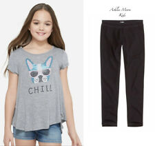 NWT JUSTICE Girls 7 Dog Studded Swingy Tee & Black Full Leggings Outfit