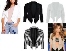 New Womens Ladies Girls Waterfall Style Cropped Blazer Jacket Top Plus Size 8-26