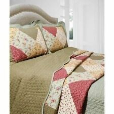Twin Full Queen King Bed Green Red Patchwork 3 pc Quilt Coverlet Set Bedding