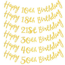 Gold Happy Birthday Bunting Banner 18th 21st 30th 40th Party Decoration 150CM