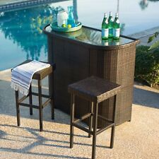 3 Piece Brown Resin Wicker Patio Bar Backless Stools Set Outdoor Furniture Deck