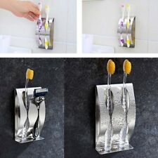 Stainless Steel Toothbrush Wall Mounted Toothbrush Holder With 2 Holes Rack UX